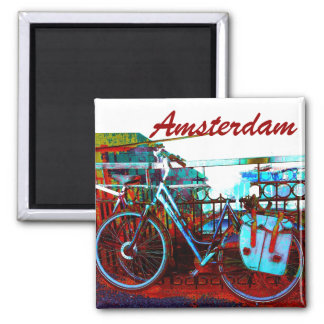 Colorful urban bike collage - Amsterdam series Magnet