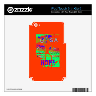 Colorful USA Hillary Hope We Are Stronger Together iPod Touch 4G Skins