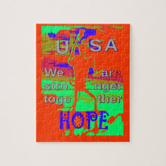 Colorful USA Hillary Hope We Are Stronger Together Jigsaw Puzzle