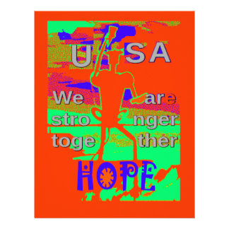 Colorful USA Hillary Hope We Are Stronger Together Letterhead