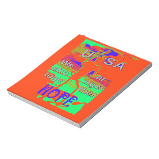 Colorful USA Hillary Hope We Are Stronger Together Notepad