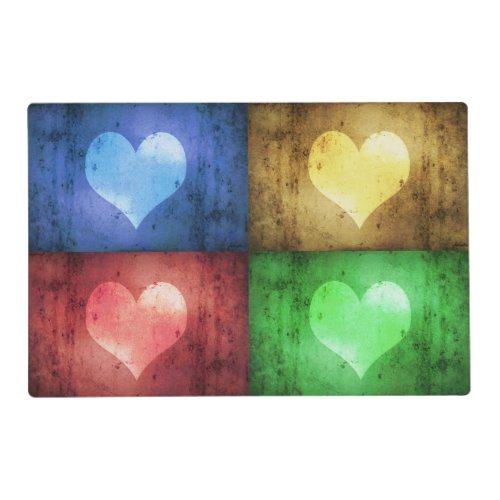 Colorful Valentine's Day Rustic Hearts Placemat