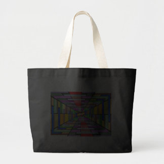 COLORFUL VANISHING POINT RECTANGLE SHAPES OPTICAL TOTE BAGS