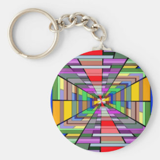 COLORFUL VANISHING POINT RECTANGLE SHAPES OPTICAL KEY CHAINS