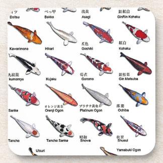 Colorful Varieties of Koi Fish Drawing Pattern Drink Coaster