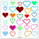 [ Thumbnail: Colorful Variety of Heart Shapes Sticker ]