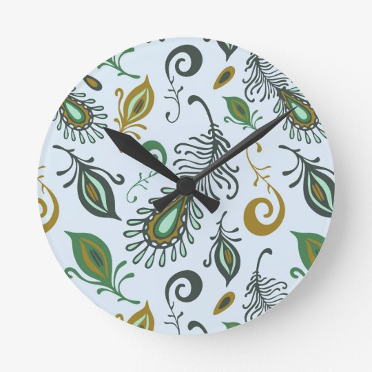 Colorful Various Feathers Round Clock