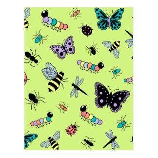 Colorful Vector Bugs & Butterflies (Green Back) Postcard