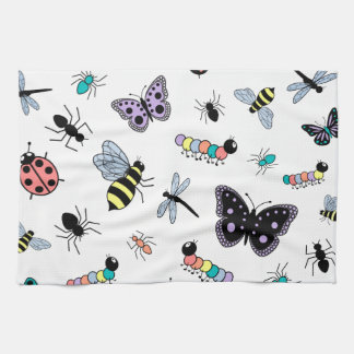 Colorful Vector Bugs & Butterflies Hand Towel