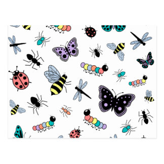 Colorful Vector Bugs & Butterflies Post Card