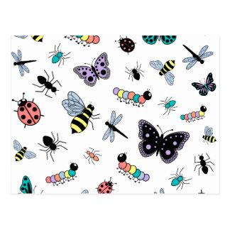 Colorful Vector Bugs & Butterflies Postcard
