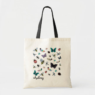 Colorful Vector Bugs & Butterflies Tote Bag