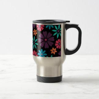 Colorful Vector Flower Pattern Travel Mug