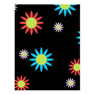 Colorful Vector Flowers Postcard