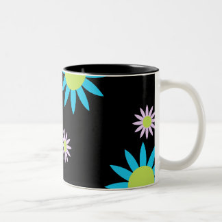 Colorful Vector Flowers Two-Tone Coffee Mug