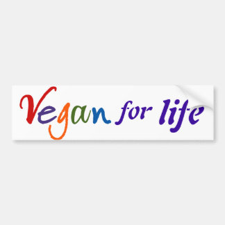 Colorful Vegan For Life Bumper Sticker