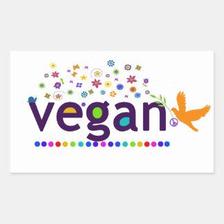 Colorful Vegan Rectangular Sticker