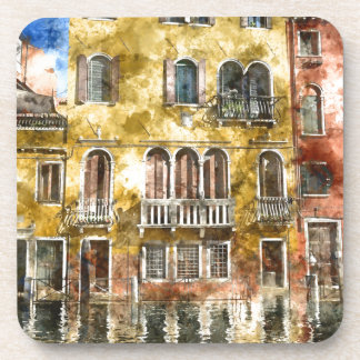 Colorful Venice Italy Buildings Coaster