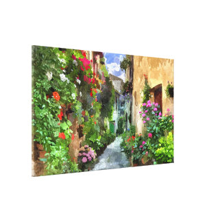 Colorful Verona Village Alley Aquarelle Painting Canvas Print