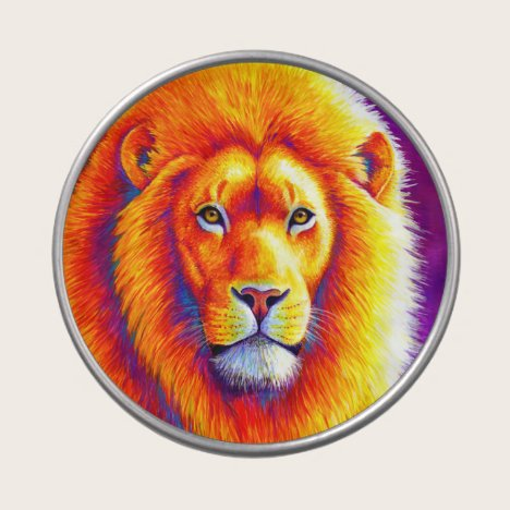 Colorful Vibrant African Lion Candy Tin