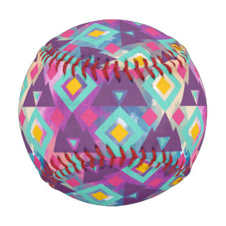 Colorful vibrant diamond shape boho batik pattern baseball