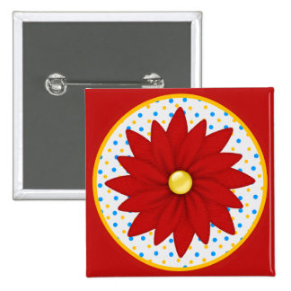 Colorful Vibrant Flower Pinback Button