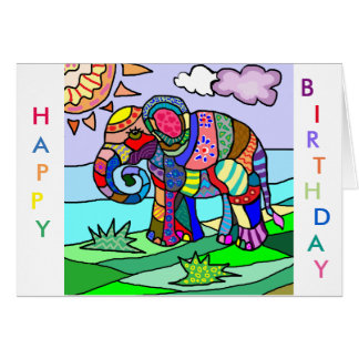 Colorful Vibrant Folk Art Abstract Flower Elephant Card