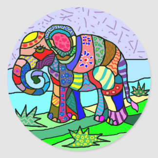 Colorful Vibrant Folk Art Abstract Flower Elephant Classic Round Sticker