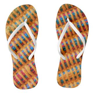 Colorful Vibrant Woven Threads Photo Print Flip Flops