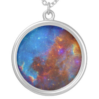 Colorful View of the North American Nebula Round Pendant Necklace