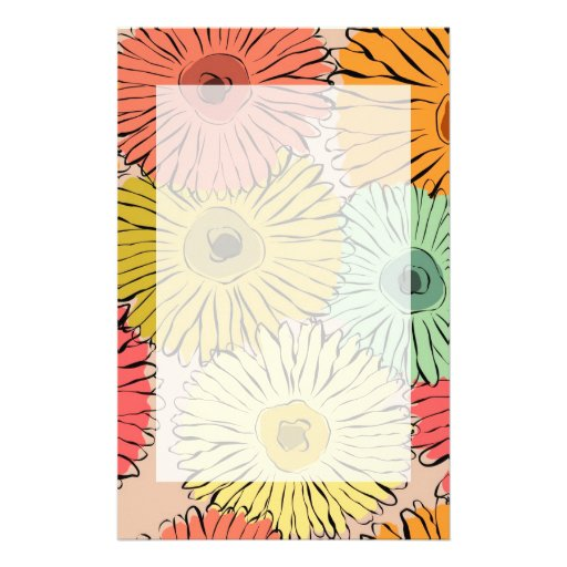 Colorful vintage abstract sunflower stationery paper