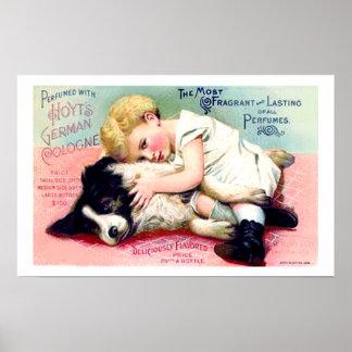 COLORFUL VINTAGE ART PRINT CHILD WITH PET