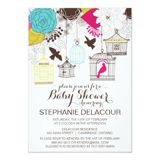 """Colorful Vintage Birdcages Baby Shower Invitation 5"""" X 7"""" Invitation Card"""
