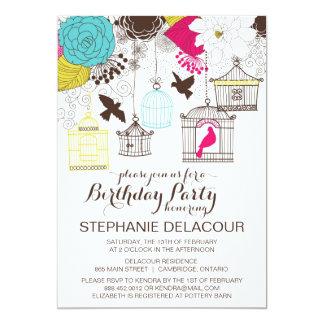 Colorful Vintage Birdcages Birthday Invitation