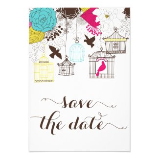 Colorful Vintage Birdcages Save the Date Invite