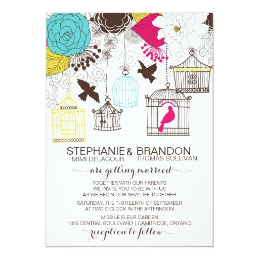"Colorful Vintage Birdcages Wedding Invitation 5"" X 7"" Invitation Card"