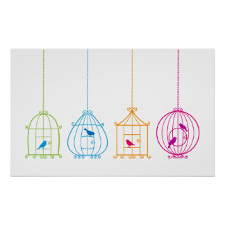 Colorful vintage birdcages with cute birds poster