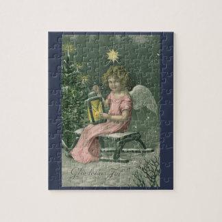 Colorful vintage blue Christmas angel puzzle