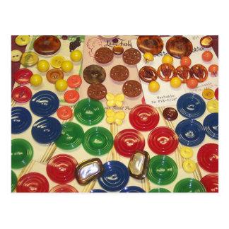 Colorful Vintage Buttons Postcard