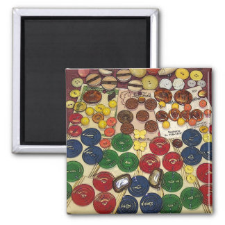 Colorful Vintage Buttons Stylized 2 Inch Square Magnet
