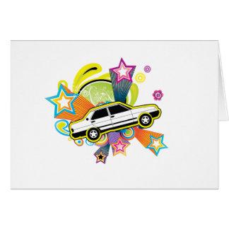 Colorful Vintage Car Card