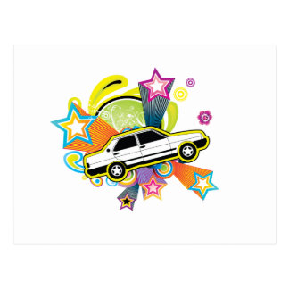 Colorful Vintage Car Postcard