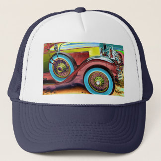 colorful vintage car trucker hat
