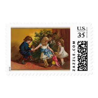 Colorful vintage Christmas games stamp