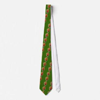 Colorful Vintage Chrysanthemums Green Tie