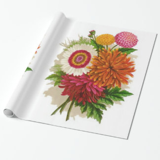 Colorful Vintage Chrysanthemums Wrapping Paper