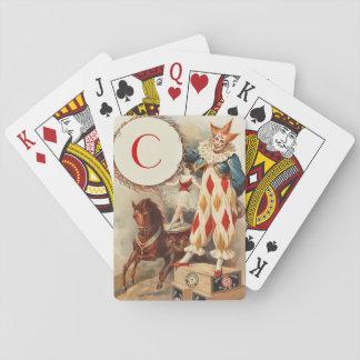 Colorful Vintage Clown Monogram Poker Deck