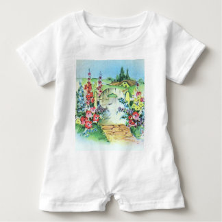 Colorful Vintage Country Flower Garden Baby Romper
