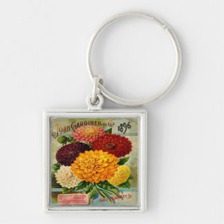 Colorful Vintage Dahlia Flowers Silver-Colored Square Keychain