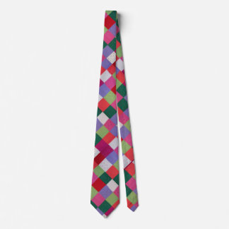 colorful vintage design knitted patchwork squares neck tie